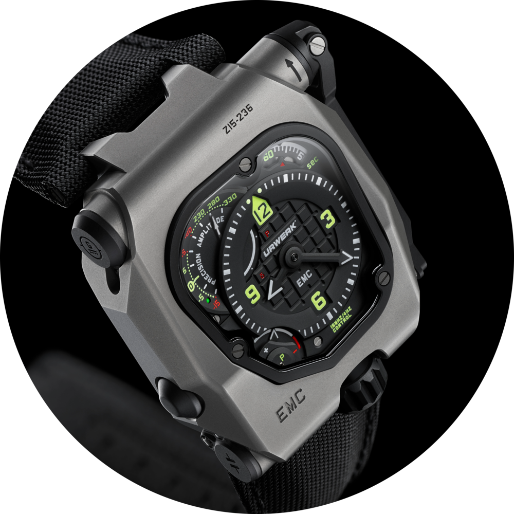 The Urwerk Geneve EMC Time Hunter in grey titanium and steel. Image courtesy of Urwerk Geneve.