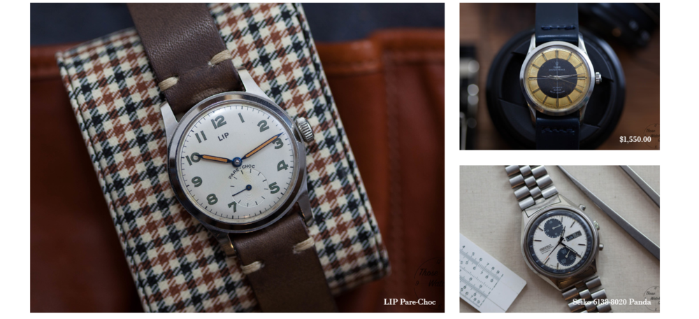 A Lip, Tudor and Seiko all sharing the same space. Screenshot from Those Watch Guys.