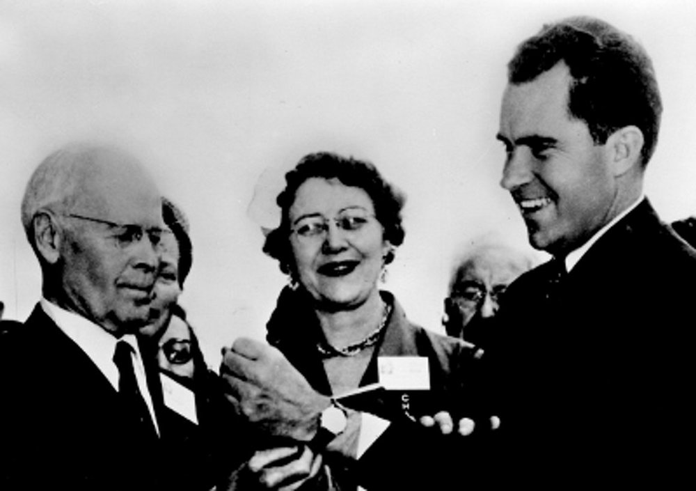 Vice-President Richard Nixon receiving his vulcain cricket from the NAWCC. Photo courtesy of the NWAC museum.