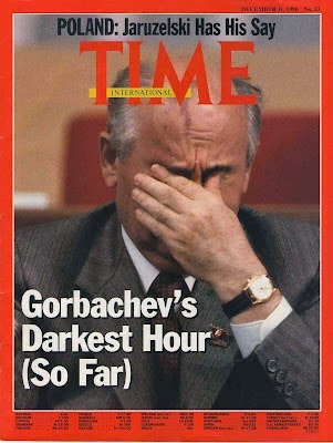 The vulcain Cricket can be seen on the wrist of gorbachev on the cover of time.