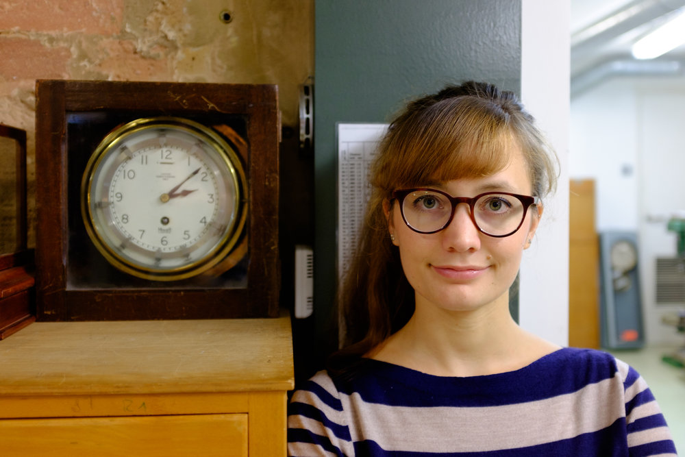 Tabea Rude at The Clockworks Museum. Photo courtesy of Michael Goldrei