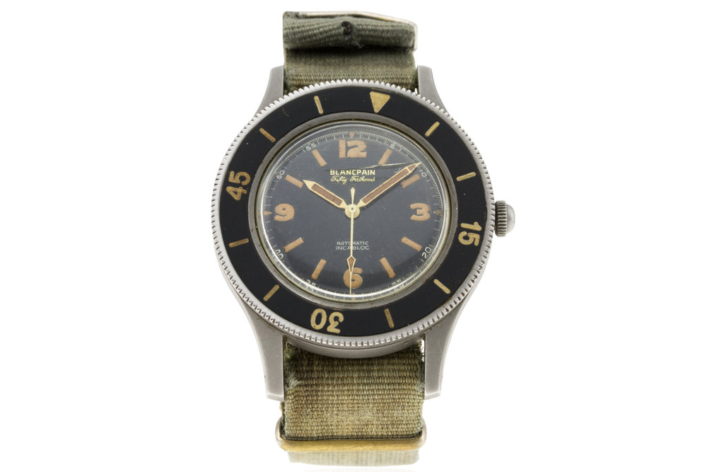 A Blancpain Fifty Fathoms, circa 1950s. Photo courtesy of watches of knightsbridge.