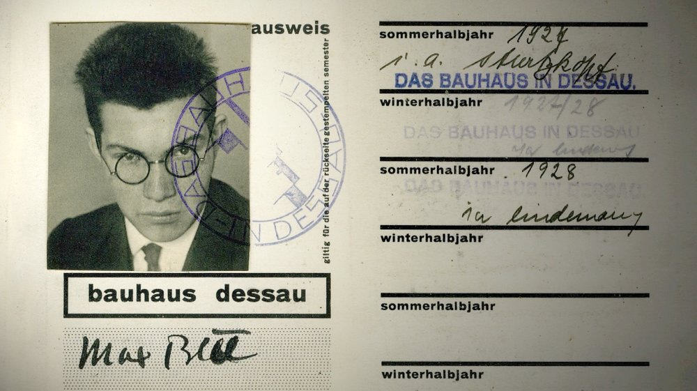 Max Bill's Student ID at the Bauhaus School
