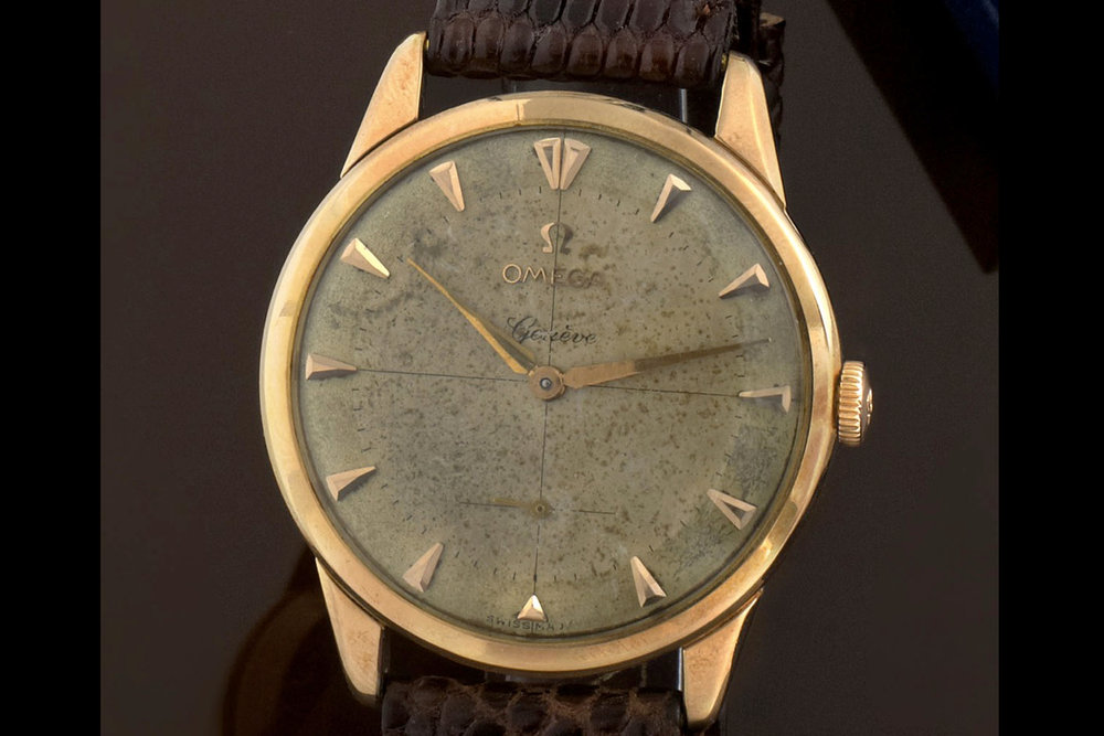 An Omega Geneve with crosshair dial. Photo courtesy of Antiquorum.