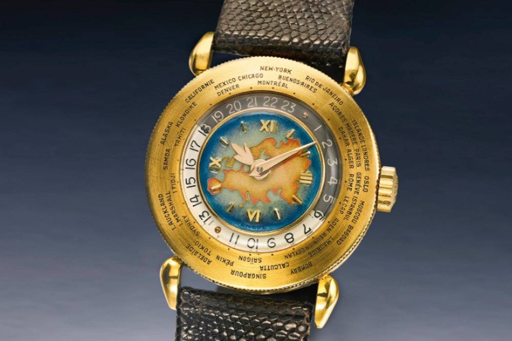 A Patek Philippe World Timer with Cloisonne enamal dial. Photo courtesy of Sotheby's.