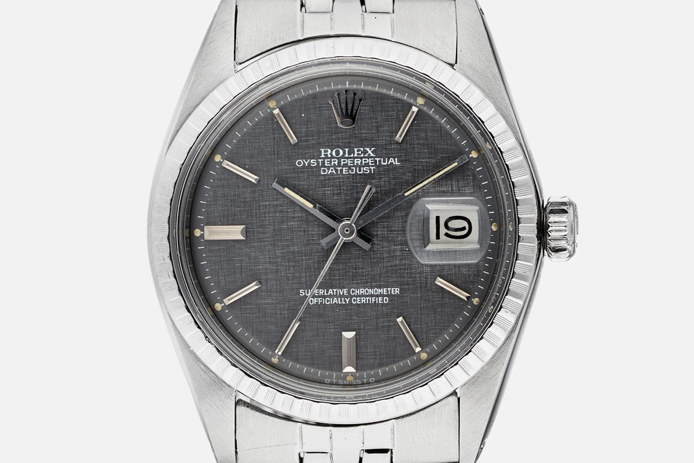 Rolex Ref. 1603 with rare gray linen 'Sigma' dial. Photo courtesy of Shop.Hodinkee.