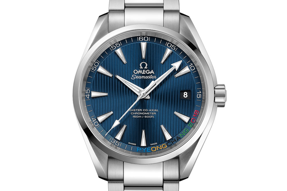 The Omega Seamaster Aqua Terra Pyeong Chang 2018 Rio Olympics Limited Edition. Photo courtesy of Omega.