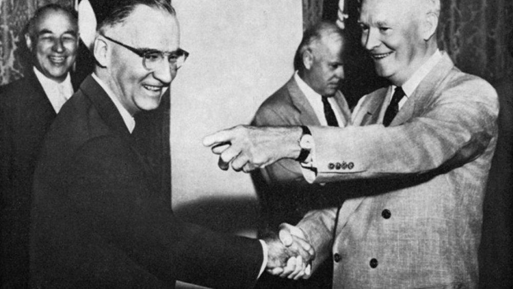 President Truman wearing a Vulcain Cricket.