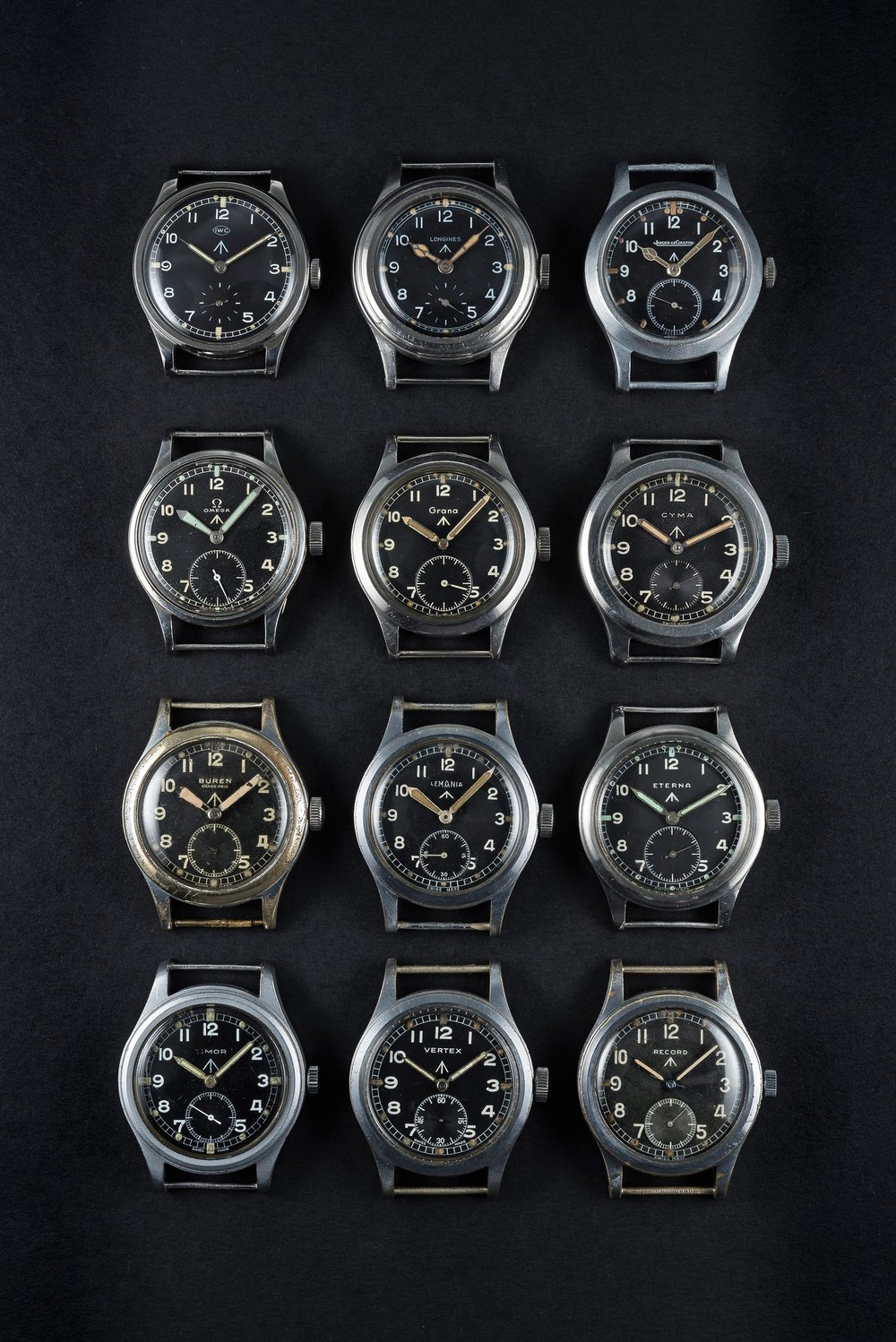 The famed 'Dirty Dozen' collection of military watches issued to the British MoD. Photo courtesy of Watches of Knightsbridge.