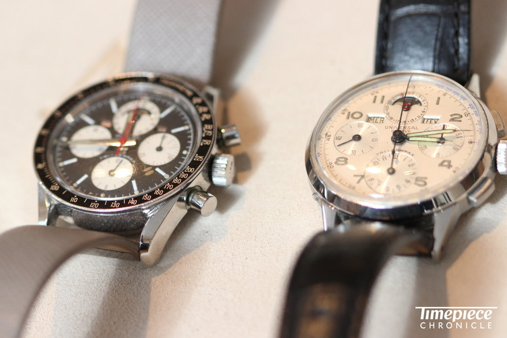 Universal Geneve Tri-Compax, 1940s and 1960s.JPG