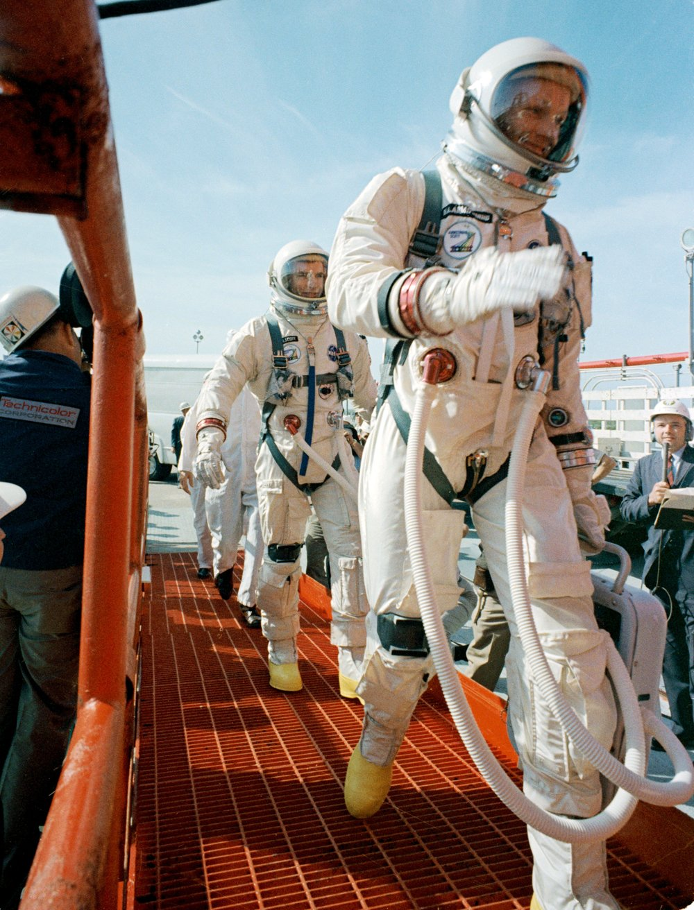 Neil Armstrong boarding Gemini 8 with his NASA issued Speedmaster and Jimmie Mattern's Wittnauer All-Proof.