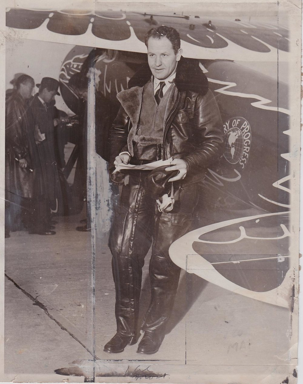 Jimmie Mattern standing next to the Century of Progress. Photo courtesy of adam l. Penenburg