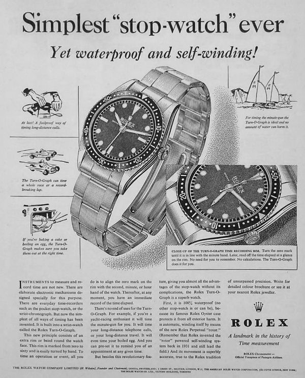 A vintage advert for the Rolex Turn-o-graph, Ref. 6202.