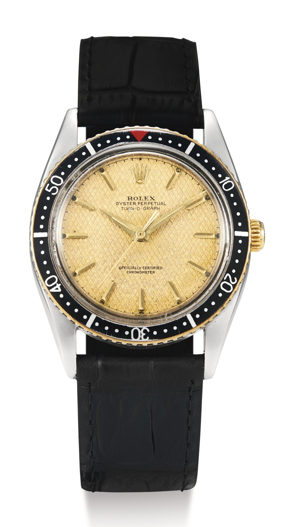 Rolex Turn-o-graph Ref. 6202 with Honeycomb dial. Photo courtesy of Sotheby's.