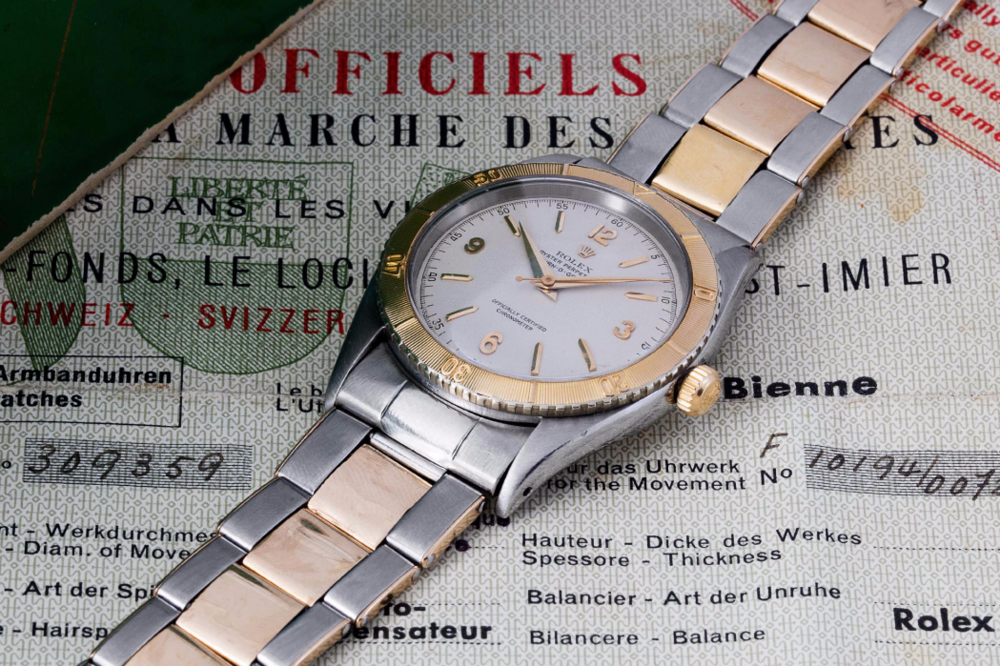 Rolex Turn-o-graph Ref. 6202 with steel & gold case and bracelet. Photo courtesy of Phillip's.