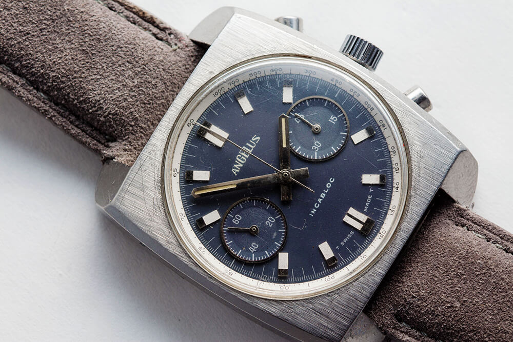 A 1970s Angelus Chronograph. Photo courtesy of Theo & Harris