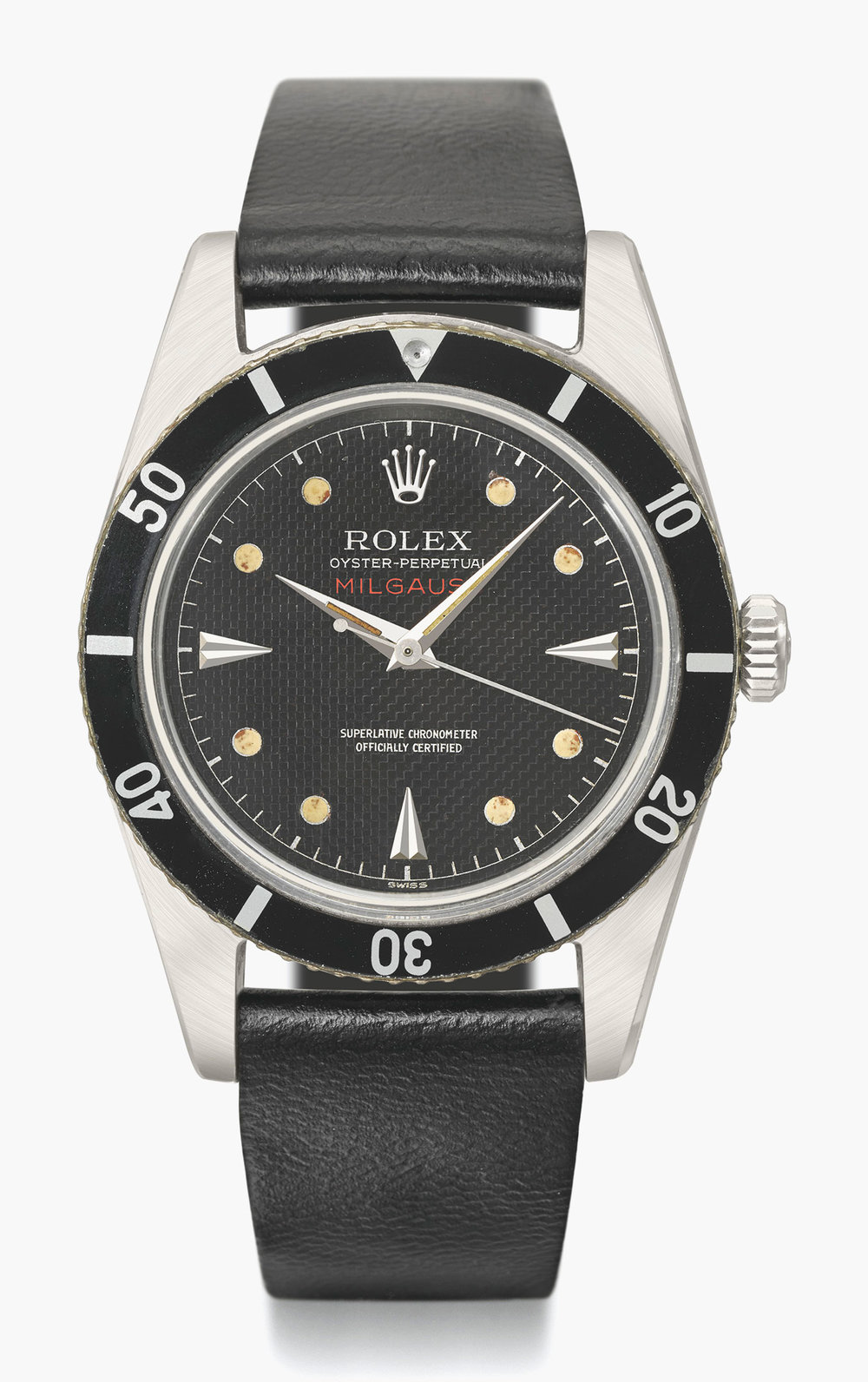The Rolex Milgauss Ref. 6543, circa 1954. This version has a rotating bezel calibrated to sixty minutes whereas others are calibrated to 6 units. Photo credit: Christie's.
