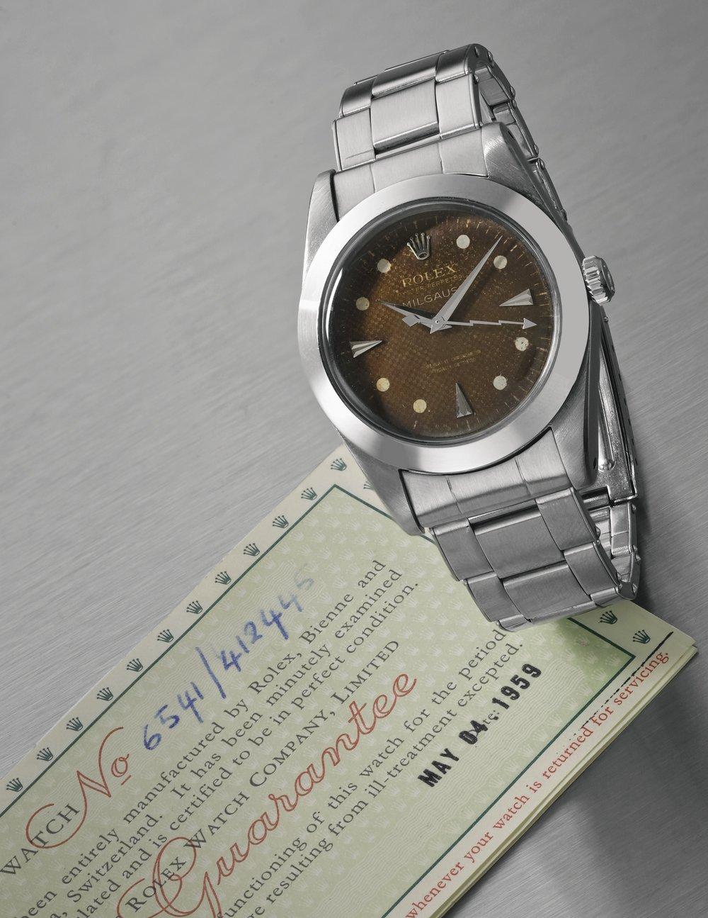 Rolex Milgauss Ref. 6541 with rare smooth bezel, circa 1959