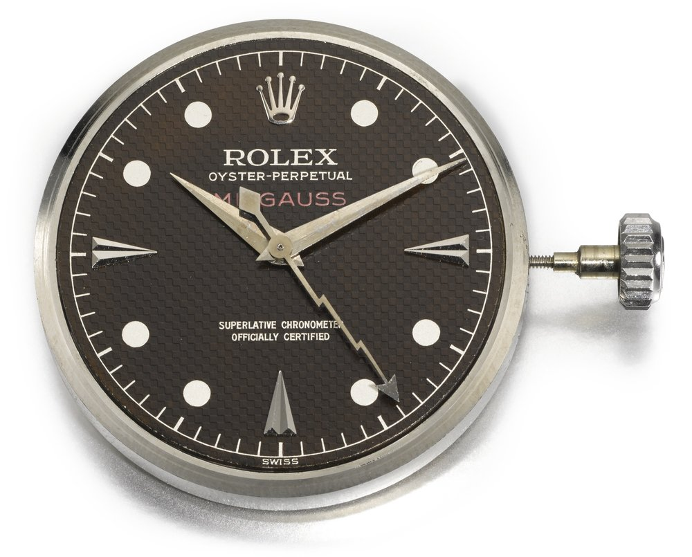 The dial of a Rolex Milgauss Ref. 6541, circa 1958. The Ref. 6543 shared the same hour markers, hour and minute hand and honeycomb dial, but did not have the lightning second hand. Photo credit: Sotheby's