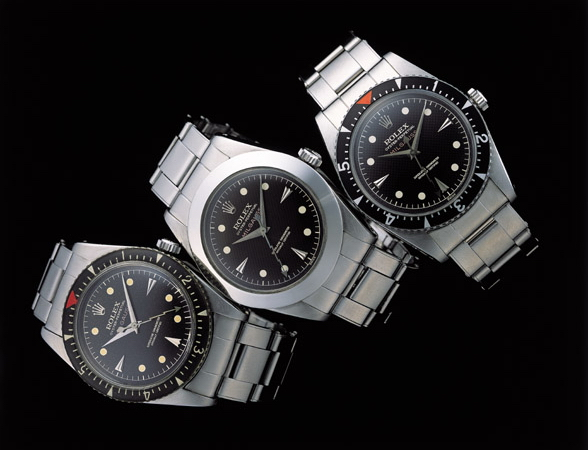 The Rolex Milgauss Reference 6543 and 6541 with rotating bezel and smooth bezel.