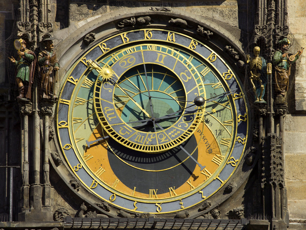 The Astronomical Clock that sits on the Southern side of the Old Town Hall in Prague, Czech Republic. It was finished in 1410 and remains the oldest operating astronomical clock. Photo credit: Wikipedia.