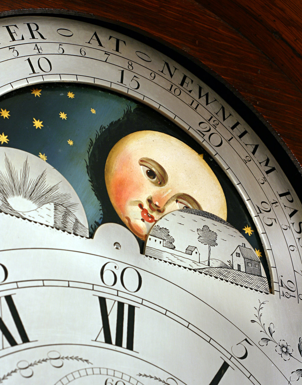 An 18th Century British Longcase clock with traditional moonphase aperture. Photo credit: British-Antiqueclocks.com