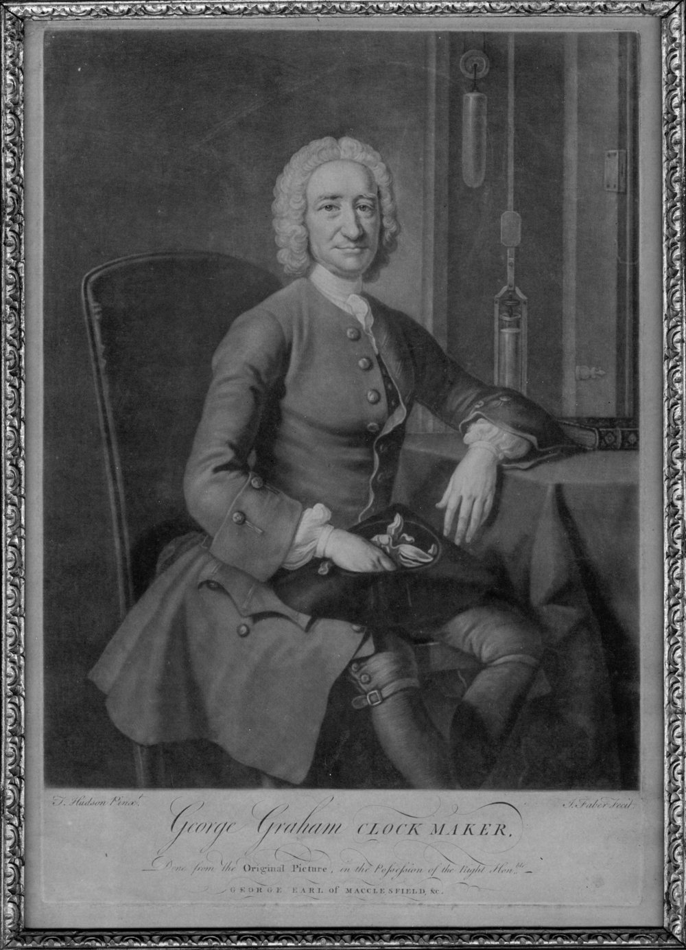 An etching of George Graham. Hudson, T., & Faber, J. (1751). Engraving of George Graham, clock maker