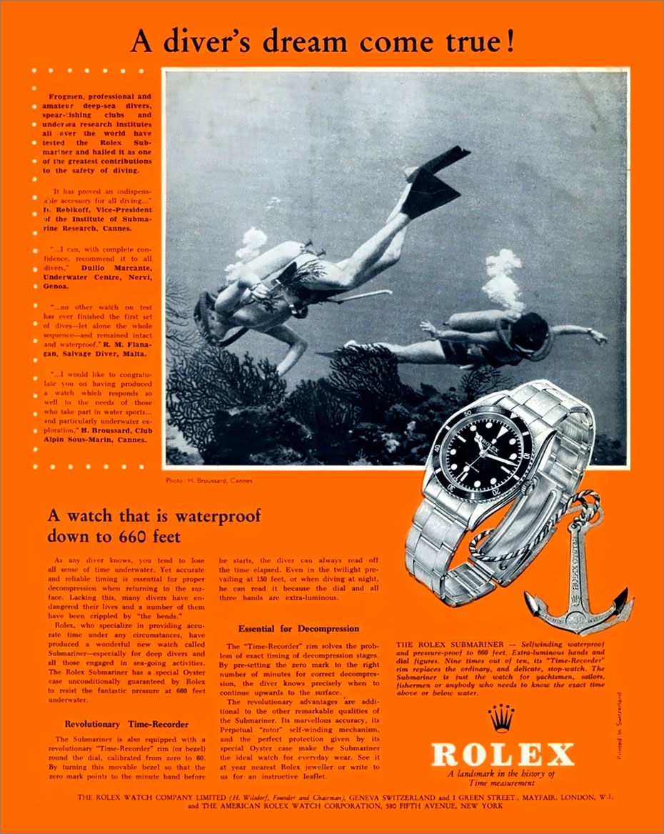 A vintage advert of the Rolex Ref. 6024.