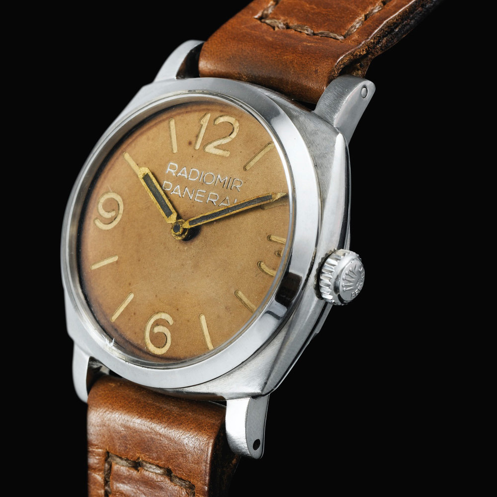 The Rolex made, Panerai Ref. 6152/1. This is larger than the standard Ref. 6152 and came fit either the Rolex Caliber 618 or the Angelus Caliber 240. Photo courtesy of Sotheby's.