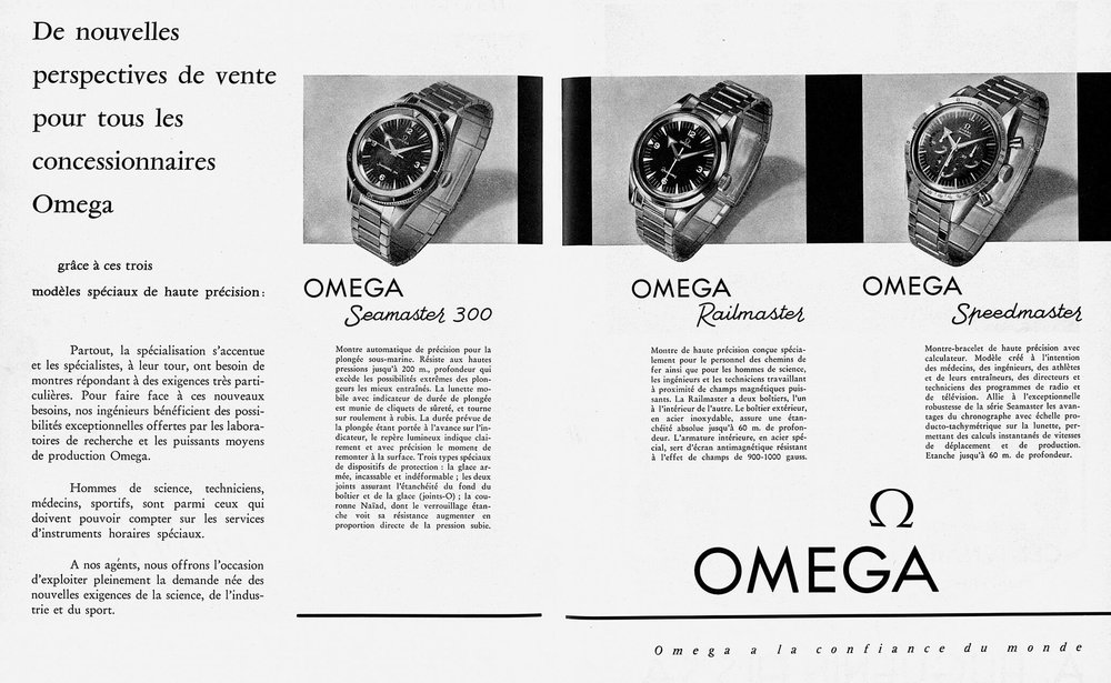 A French advert for the 1957 Rail-, Sea- and Speedmasters. Photo courtesy of Omega.