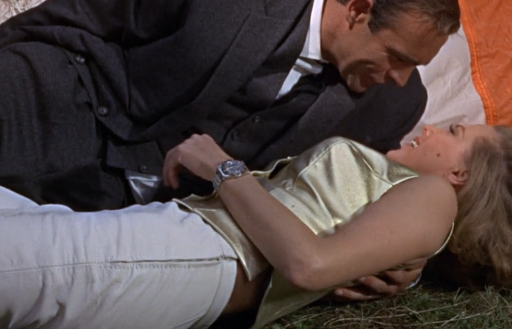 The briefly seen Rolex GMT-Master Ref. 6542 worn by Pussy Galore in Goldfinger