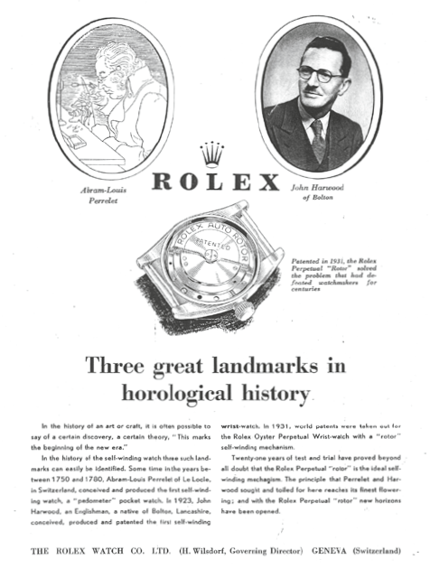 A Rolex advertisement showing John Harwood