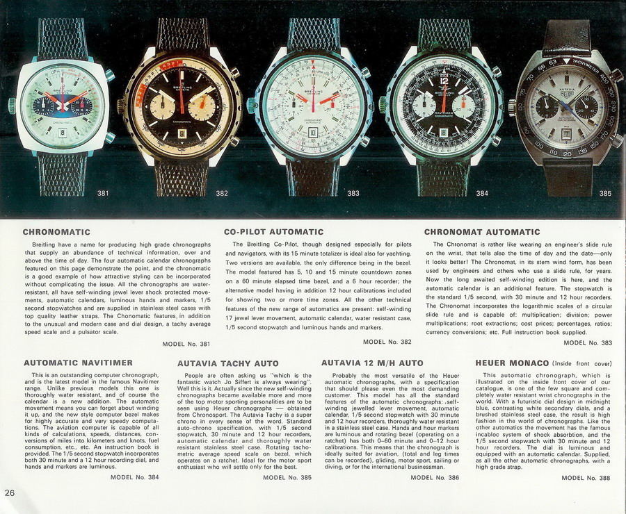 A selection of the Chrono-Matic Caliber 11 watches.