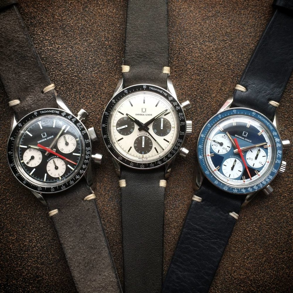 "Three fantastic Universal Geneve Compax, ""Evil Nina"" Ref.  885103/01, ""Nina Rindt"" Ref 886103/03 & a fantastic blue combination. Photograph by William Bright."