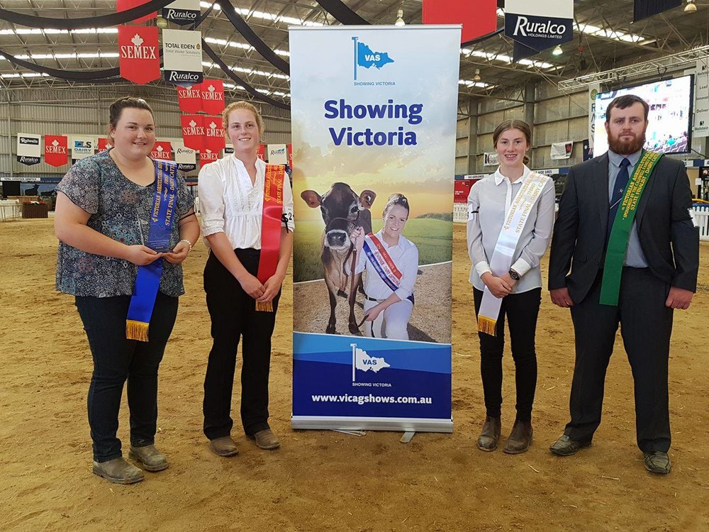 L - R Cally o'shannassy, tamara loughridge, Rachel Dickson & karl munden.  winners of the state final of the vas ltd dairy judging competition.
