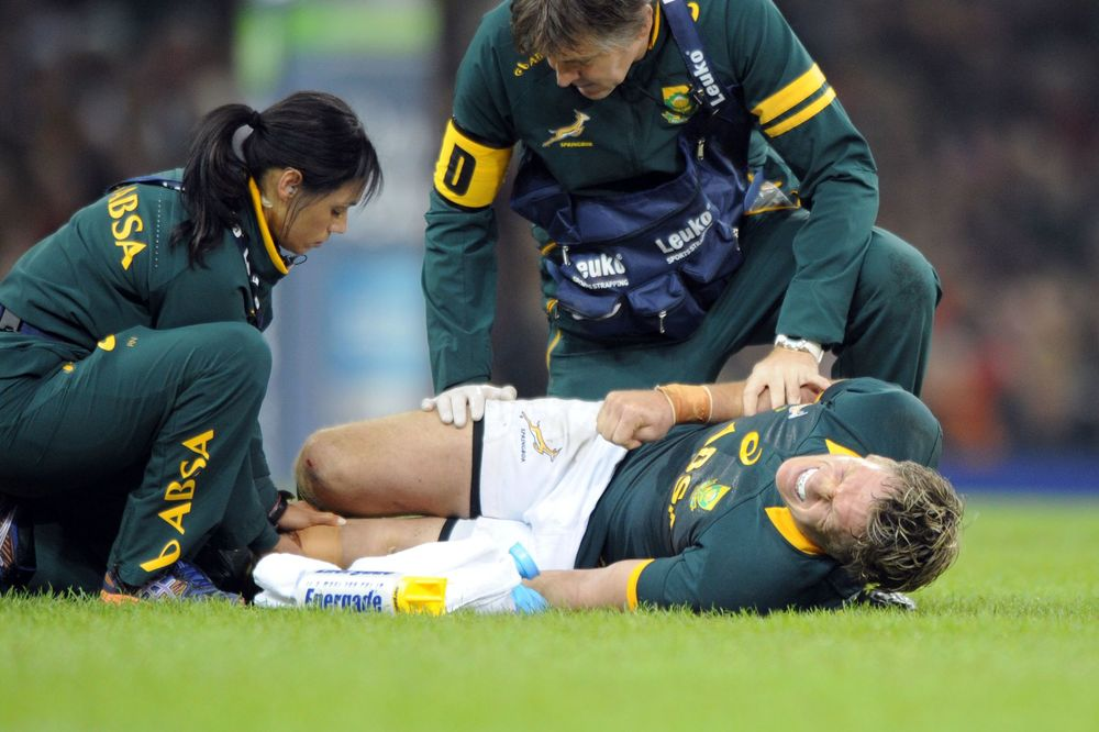 Springbok captain Jean de Villiers receives medical attention after sustaining a career threatening injury against Wales last year. Image supplied by Jean de Villiers.