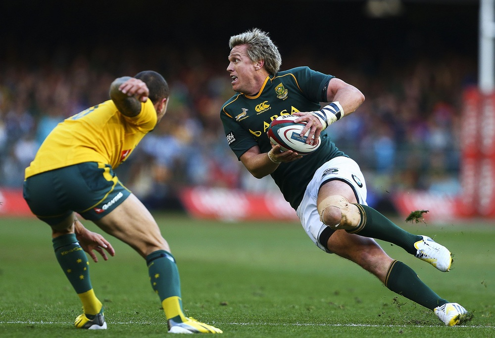 Jean de Villiers in action against Australia side stepping Quade Cooper. Image supplied by Jean de Villiers.
