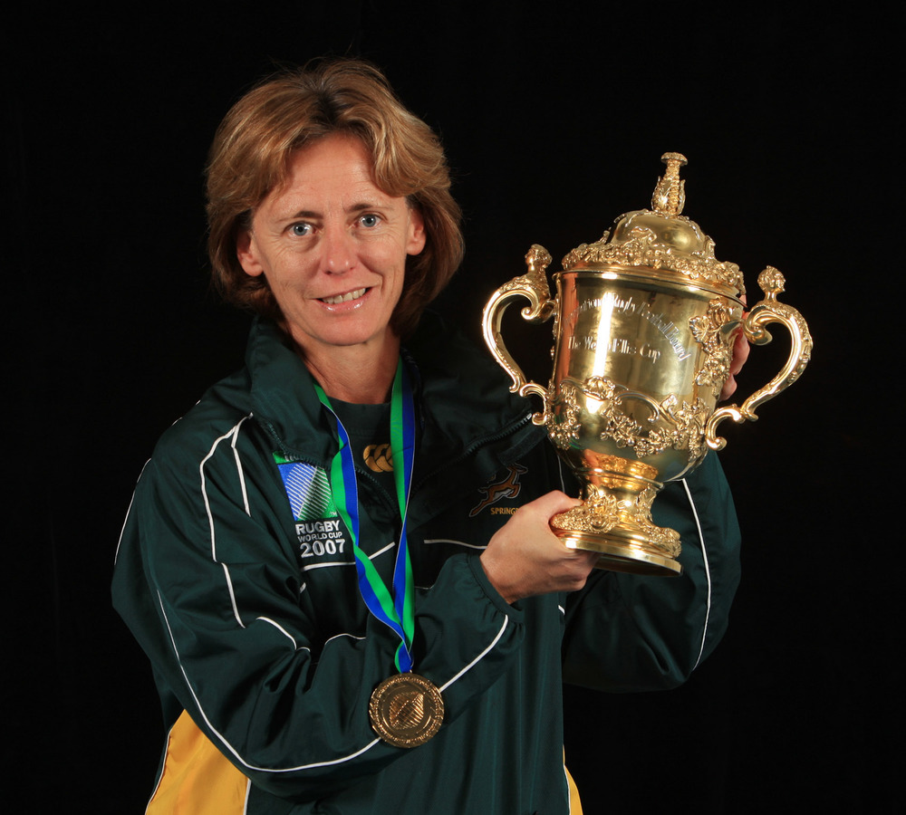 Dr Sherylle Calder, founder and owner of EyeGym, with the William Webb Ellis Cup, the trophy awarded to the Rugby World Cup winners, in 2007. It was the second time she lifted the famous trophy after previously winning it with England in 2003. Image supplied by EyeGym.