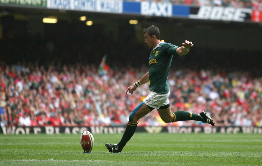 Ruan Pienaar, a product of Grey College, takes a penalty kick against Wales at the Millennium Stadium in Cardiff. Pienaar is part of a strong rugby history at Grey that includes 44 other Springboks. Image supplied by Action Images/ Steven Paston.