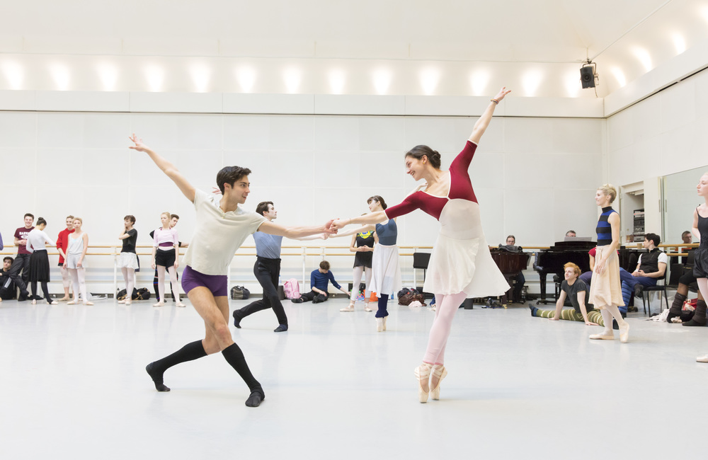 James Hay and Romany Pajdak of the Royal Ballet Company in rehearsal. Image supplied by the Royal Ballet Company, photo by Johann Perrson.