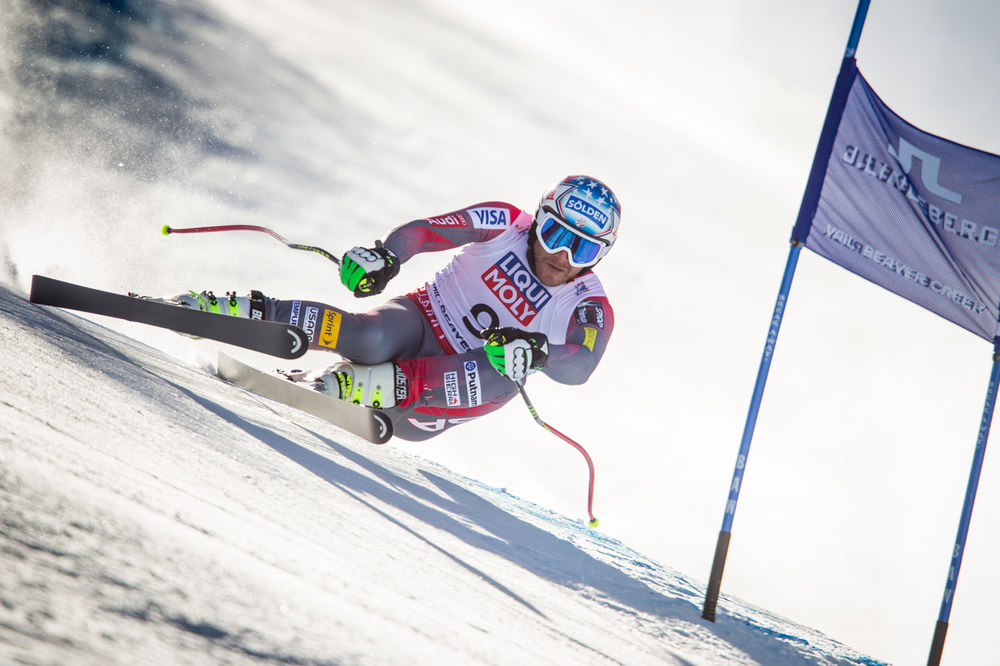 Bode Miller competes in the Men's Super G at the 2015 FIS Apline World Ski Championships, Vail/Beaver Creek. Image supplied by USSA/ Cody Downward.
