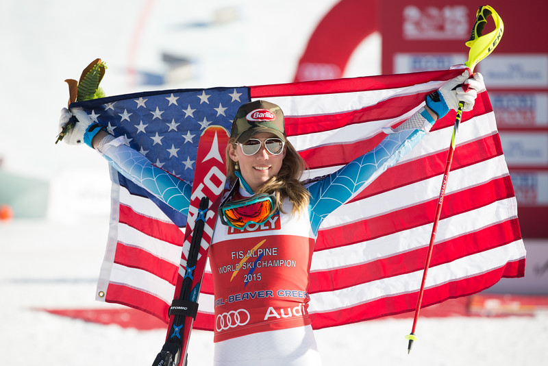 Mikaela Shiffrin celebrates her victory in the Women's Slalom at the 2015 FIS Apline World Ski Championships, Vail/Beaver Creek. Image supplied by USSA/ Cody Downward.