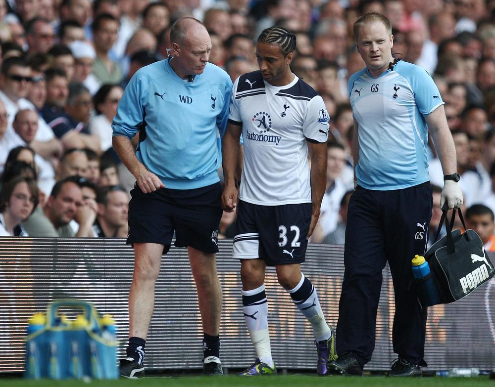 Wayne Diesel (right) with Benoit Assou-Ekotta (middle) during his spell with Tottenham Hotspur in the English Premier League.