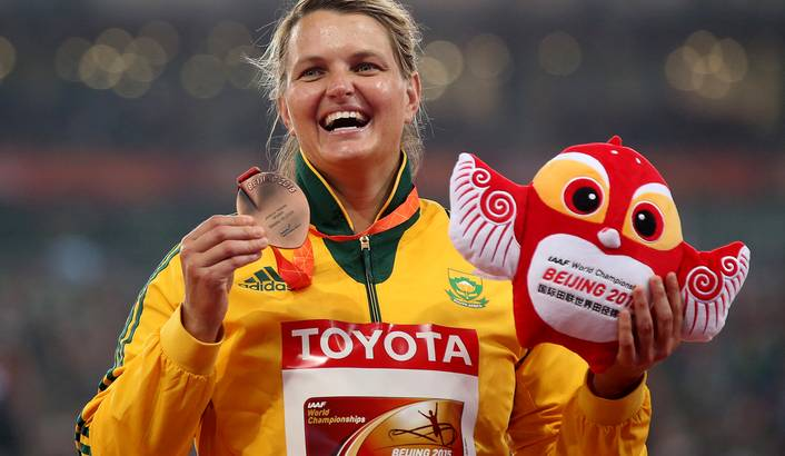 South Africa's Sunette Viljoen poses with her bronze medal on the podium of the women's Javelin Throw final during the Beijing 2015 IAAF World Championships at the National Stadium, also known as Bird's Nest, in Beijing, China, 30 August 2015.  Wu Hong