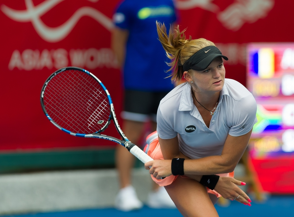 Chanel Simmonds in action on the WTA Tour. After sliding down the rankings in 2015, Simmonds faces an uphill battle to return to a position where the money is good and she can focus solely on her game.