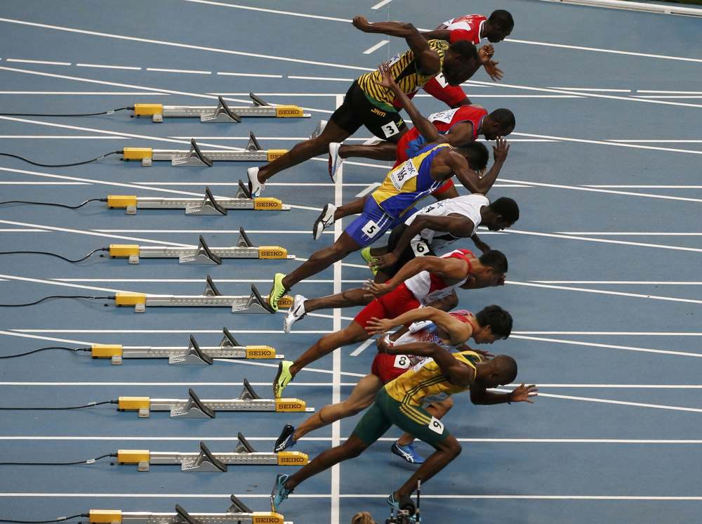 8 of the world's fastest men, including Usain Bolt (2nd from top) leave the starting blocks in a heat during the IAAF World Athletic Championships at the Luzhniki stadium in Moscow, August 10, 2013.  Images supplied by Action Images / Maxim Shemetov.