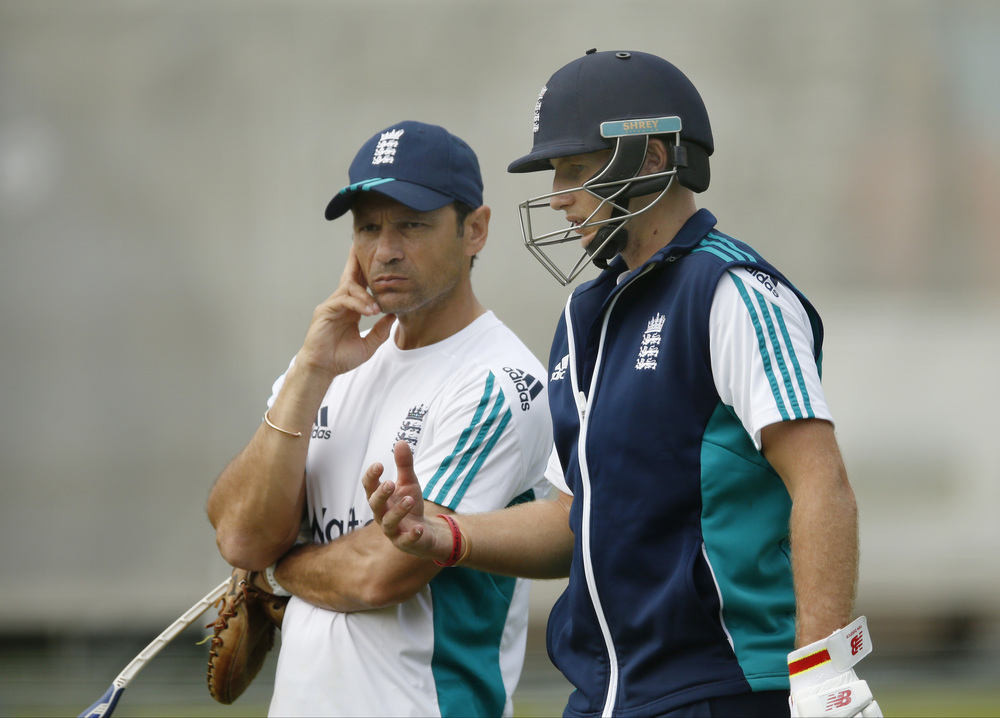England's Joe Root (R) with batting coach Mark Ramprakash during a training session in preparation for the Test series between England and Pakistan. By asking questions, and challenging Root to find the answers himself, Ramprakash has unlocked England's best batsman's true potential.  Image supplied by Action Images / Andrew Boyers.