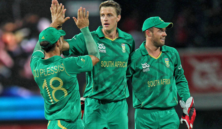 South African bowler Morne Morkel (C) celebrates with teammates after taking the wicket of Indian batsman Gautam Gambhir during the Super Eight stage match of the World Twenty20 tournament between South Africa and India at Colombo, Sri Lanka, 02 October 2012. Image supplied / Harish Tuagi.
