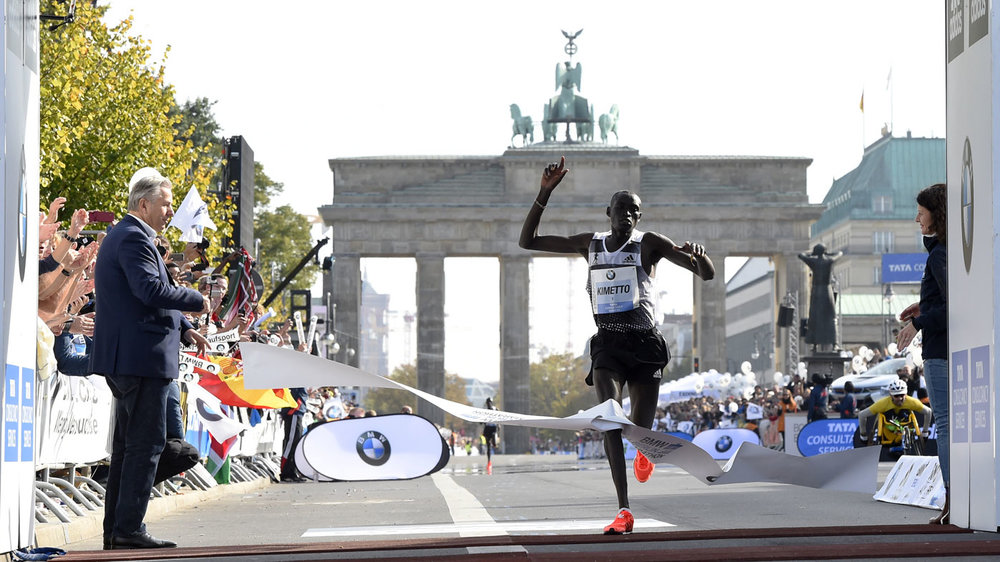 Dennis Kimetto's record for the marathon of 2:02:57, set at the Berlin Marathon in 2014, is under threat.
