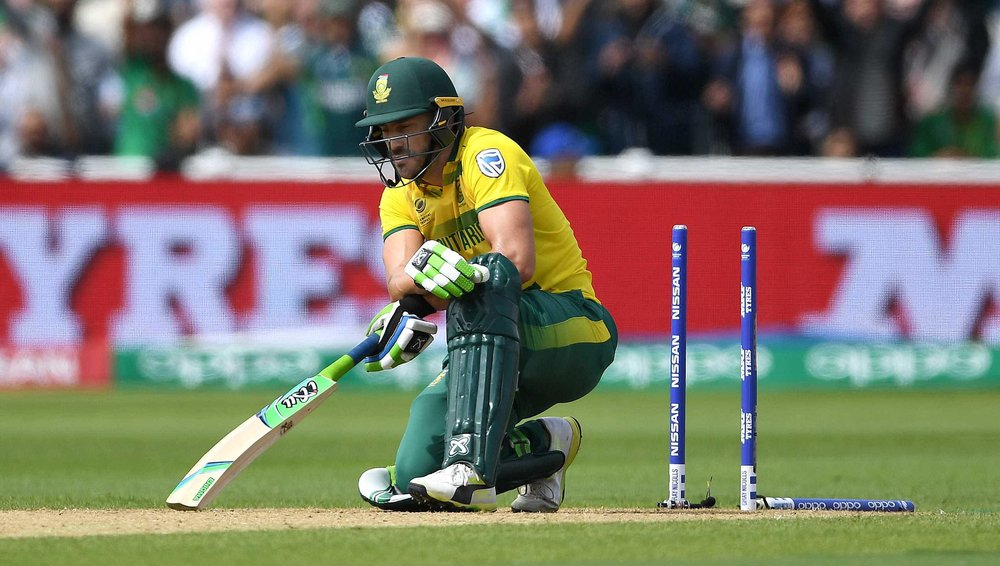 Faf du Plessis is crestfallen as his middle stump is removed in South Africa's crushing defeat to India and subsequent elimination from the 2017 Champions Trophy.